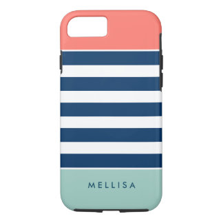 Modern Stylish Coral Mint Navy White Stripes iPhone 8/7 Case