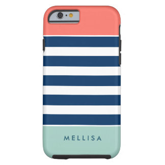 Modern Stylish Coral Mint Navy White Stripes Tough iPhone 6 Case