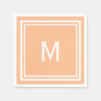 Modern Stylish Creamsicle Orange Custom Monogram