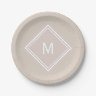 Modern Stylish Creamy Blush Custom Monogram Paper Plate
