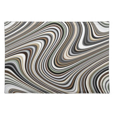 Coffee Themed Modern Stylish Curvy Abstract Pattern Cloth Placemat