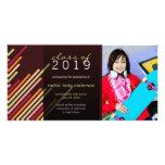 Modern Stylish Diagonal Stripes Graduation Grad Photo Greeting Card
