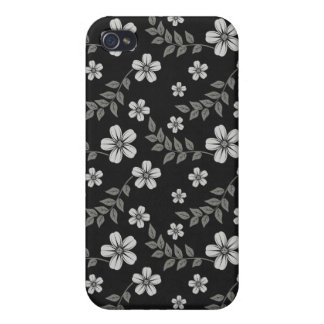 Modern Stylish Flower and Leaves Floral Pattern iPhone 4/4S Cases