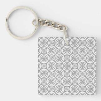 Modern Stylish Geometric Circles Grey and White Keychain