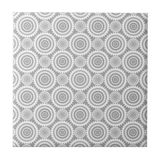 Modern Stylish Geometric Circles Grey and White Small Square Tile