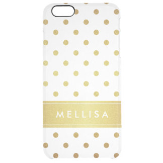 Modern Stylish Gold Glitter Polka Dots Uncommon Clearly™ Deflector iPhone 6 Plus Case