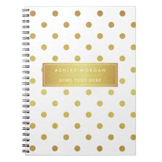 Modern Stylish Gold Glitter Polka Dots Spiral Note Books