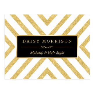 Modern Stylish Gold Glitter Stripes Pattern Postcard