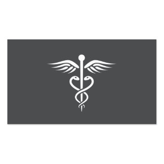 Modern stylish gray medical doctor caduceus Double-Sided standard business cards (Pack of 100)