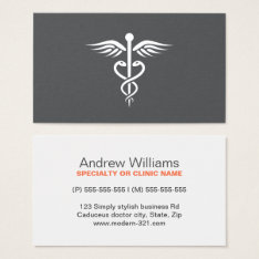 Modern Stylish Gray Medical Doctor Caduceus Business Card at Zazzle