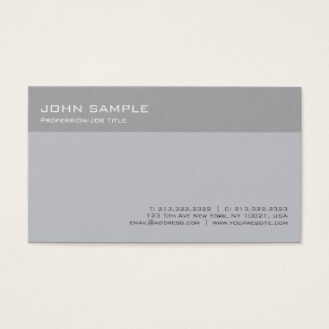 Lawyer Themed Modern Stylish Grey Professional Minimal Plain Business Card