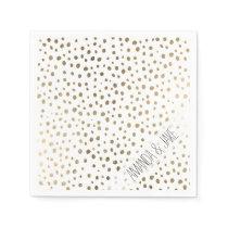 Modern stylish hand drawn gold polka dots paper napkin