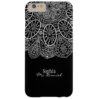 Modern Stylish Henna Circle Design Black and White Barely There iPhone 6 Plus Case