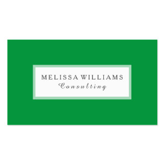 Modern Stylish Kelly Green & White Consulting Business Card