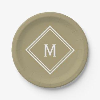 Modern Stylish Khaki Tan Custom Monogram