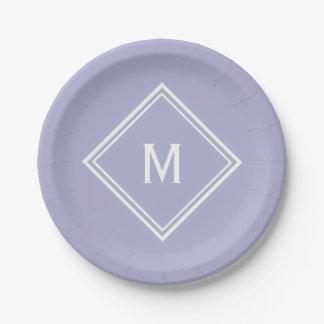 Modern Stylish Lavender Custom Monogram Paper Plate