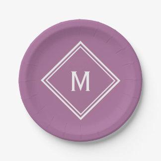 Modern Stylish Mauve Custom Monogram Paper Plate