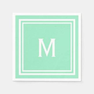 Modern Stylish Mint Green Custom Monogram