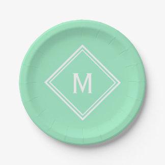 Modern Stylish Mint Green Custom Monogram Paper Plate