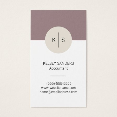 Mauve Pearl and White Monogram Feminine Accountant Business Cards Template