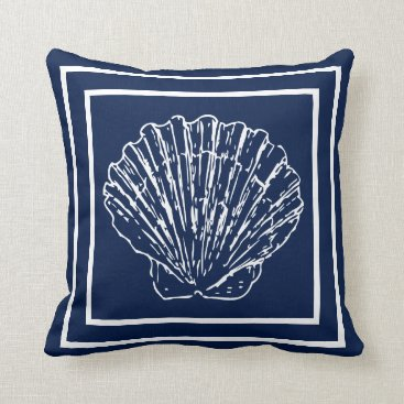 Beach Themed Modern Stylish Nautical Seashells On Dark Blue Throw Pillow