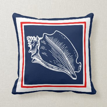 Beach Themed Modern Stylish Nautical Seashells On Red And Blue Throw Pillow