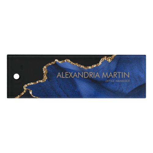 Modern Stylish Navy Blue Gold Glitter Marble Ruler
