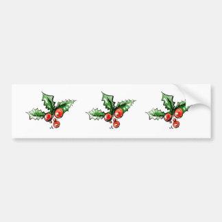 Modern Stylish New Year Christmas Leaves Leaf Red Bumper Sticker
