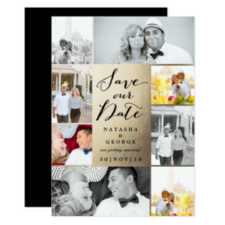 Modern Stylish Photo Collage Save The Date Card