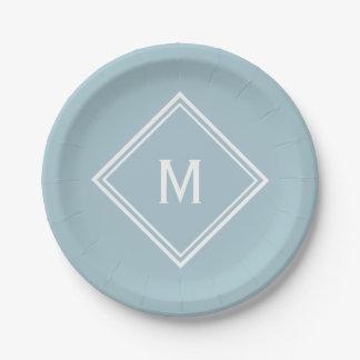 Modern Stylish Powder Blue Custom Monogram Paper Plate