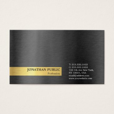 Lawyer Themed Modern Stylish Professional Black Grey Gold Plain Business Card