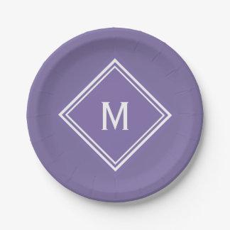 Modern Stylish Purple Custom Monogram Paper Plate
