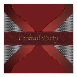 Modern Stylish Red & Black Cocktail Party Invitati Card