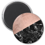 Modern stylish rose gold black marble color block 2 inch round magnet