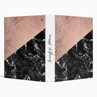 Modern stylish rose gold black marble color block 3 ring binder