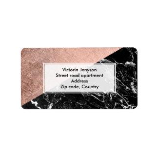 Modern stylish rose gold black marble color block address label