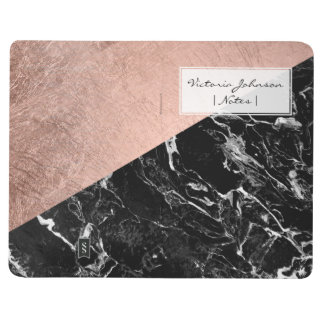 Modern stylish rose gold black marble color block journal