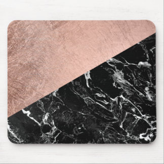 Modern stylish rose gold black marble color block mouse pad