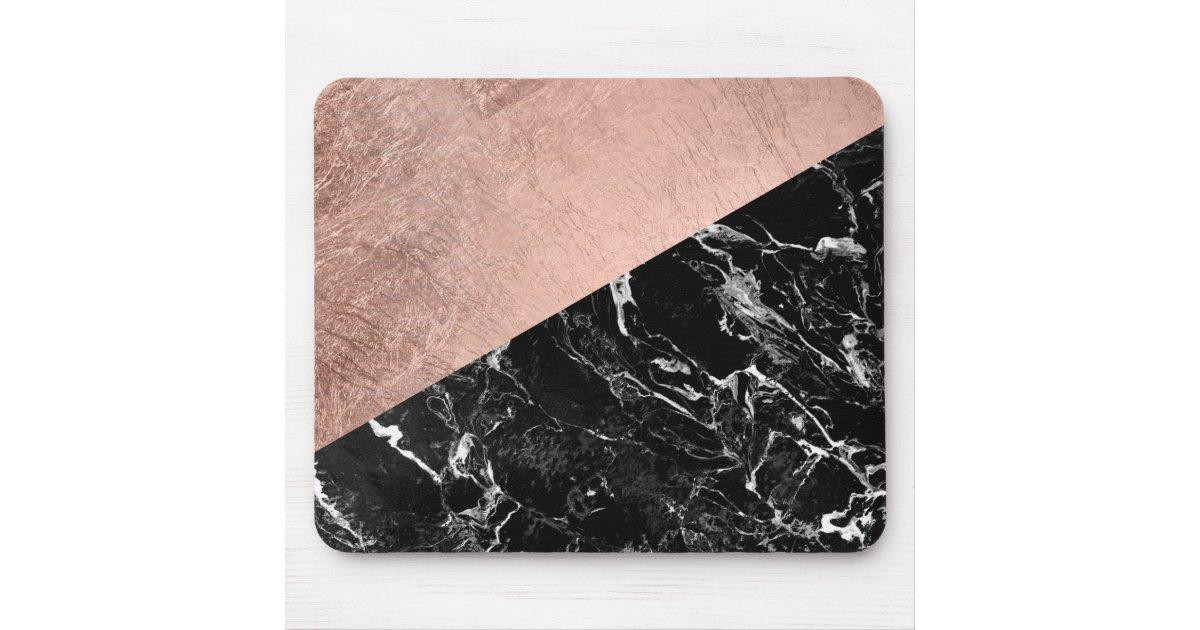 Black Gold Marble Blocks : Modern stylish rose gold black marble color block mouse