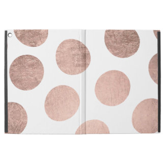 "Modern stylish rose gold hand drawn big polka dots iPad pro 12.9"" case"