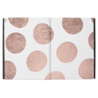 Modern stylish rose gold hand drawn big polka dots iPad pro case