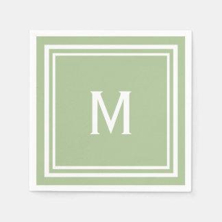 Modern Stylish Sage Green Custom Monogram Paper Napkin