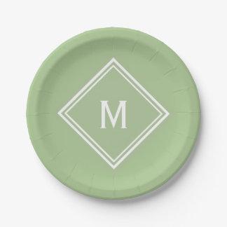Modern Stylish Sage Green Custom Monogram Paper Plate