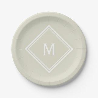 Modern Stylish Sandy Beige Custom Monogram Paper Plate