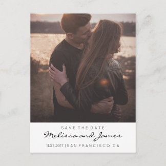 Modern Stylish Save The Date Photo Announcement Postcard
