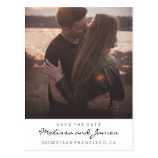 Modern Stylish Save The Date Photo Postcard
