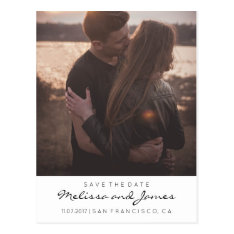 Modern Stylish Save The Date Photo Postcard at Zazzle