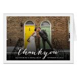 Modern Stylish Script Wedding Thank You Photo Card