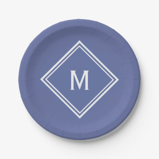 Modern Stylish Slate Blue Custom Monogram Paper Plate