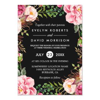 Modern Stylish Spring Wedding Floral Wreath Card
